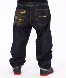 Mass-Phat Camo Baggy Fit Jeans Dark Blue