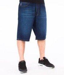 SmokeStory-Szorty Jeans Spodnie Krótkie Wycierane Dark Blue