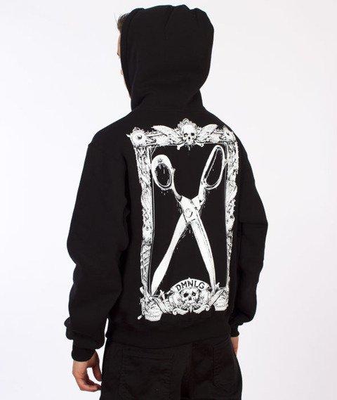 Demonologia-Nożyczki Bluza Kaptur Zip Czarny/Biały