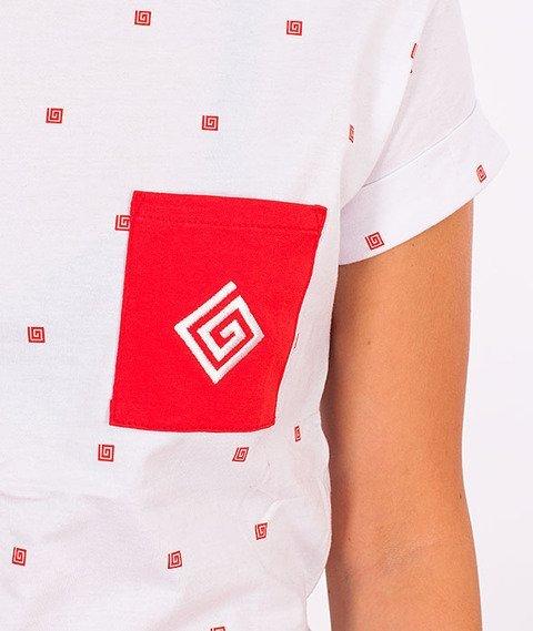 Labirynt-Kieszonka Czerwona T-shirt Biały