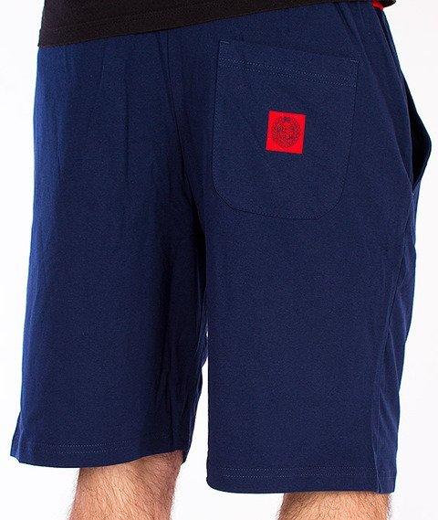 Mass-Base Spodnie Dresowe Krótkie Granatowe/Czerwone
