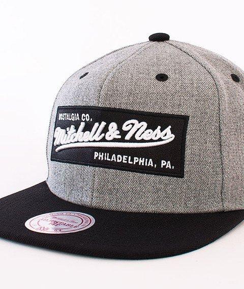 Mitchell & Ness-2 Tone Label Box Logo Snapback Grey Heather NE18Z