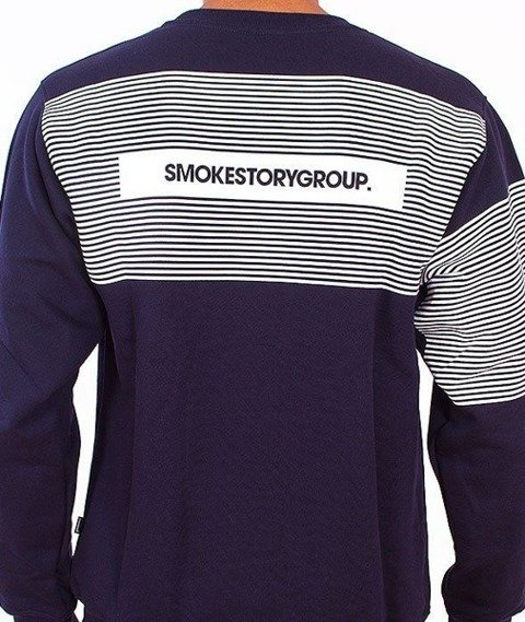 SmokeStory-Stripes Bluza Granatowa