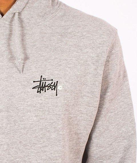 Stussy-Basic Logo Hood Grey Heather