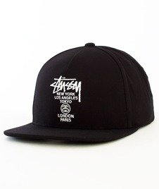 Stussy-World Tour Canvas Snapback Black