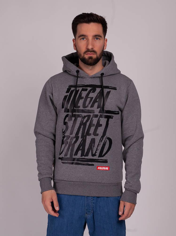Illegal STREET BRAND Bluza z Kapturem ciemny Szary
