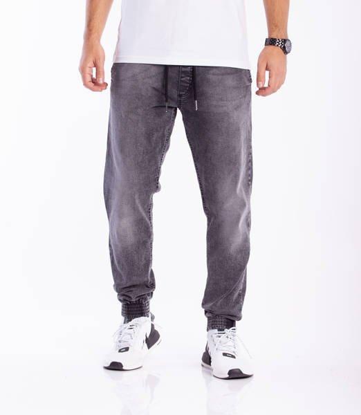 Smoke Story SKIN Jogger Slim Jeans Wycierane Black Light