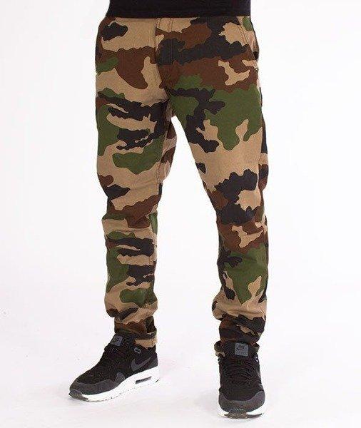 SmokeStory-Jeans Stretch Straight Fit Guzik Spodnie Tkanina Moro