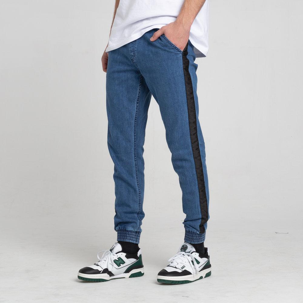 SmokeStory-Jogger Czarny Lampas Slim Jeans Spodnie Light Blue