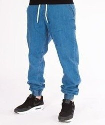 SmokeStory-Jogger Slim Jeans Haft Guma Spodnie Light Blue
