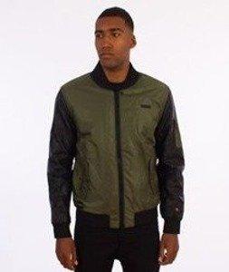 RocaWear-Leather Sleeves Jacket Kurtka Bomber Oliwkowa