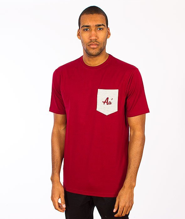 Alkopoligamia-Aa' Basic Pocket T-shirt Bordowy
