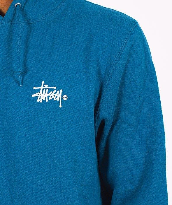 Stussy-Basic Logo Hood Blue