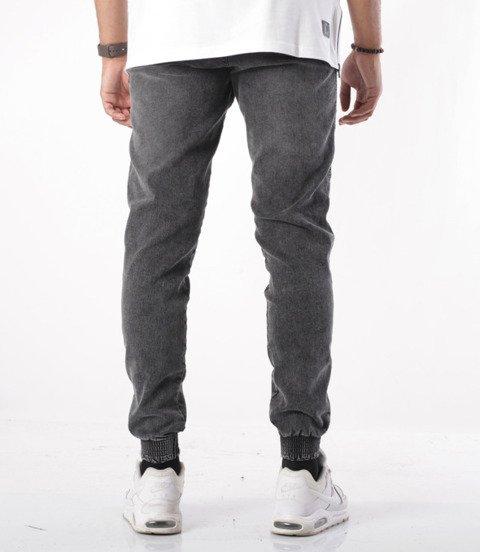 Biuro Ochrony Rapu-Jogger Fit Guma Strecz Spodnie BOR New Outline Szary Jeans