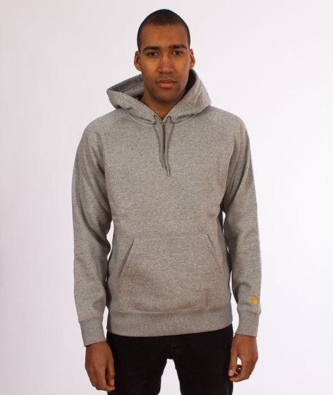 Carhartt WIP-Hooded Chase Sweat Bluza Kaptur Grey Heather/Gold
