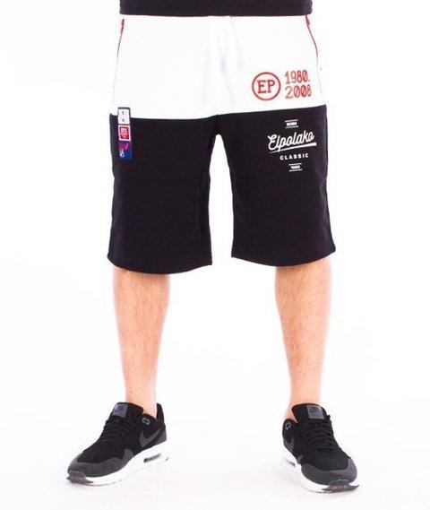 El Polako-Half Colour Spodnie Krótkie Dresowe Czarne/Białe