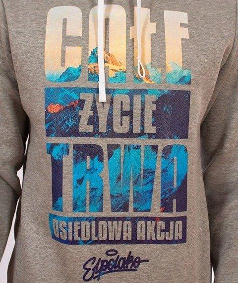 El Polako-Kangurka Całe Życie Bluza Kaptur Szara