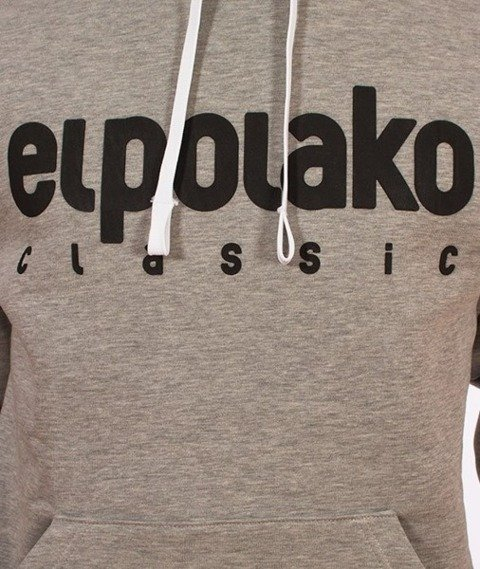 El Polako-Kangurka Classic Logo Bluza Kaptur Szara