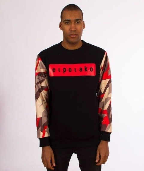El Polako-Sleeve Crewneck Bluza Triangle Camo Red