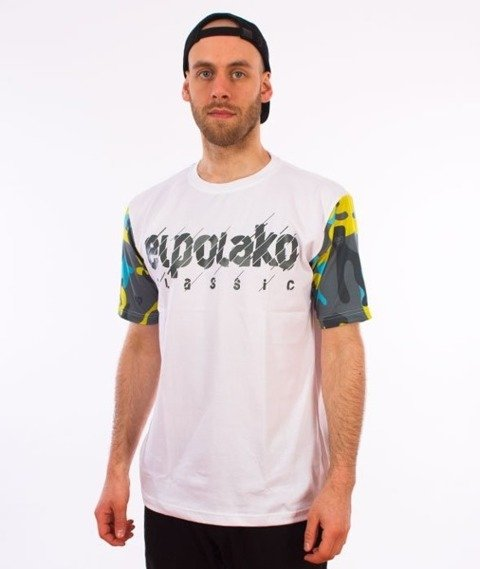 El Polako-Sleeve Moro EP Cut T-Shirt Biały
