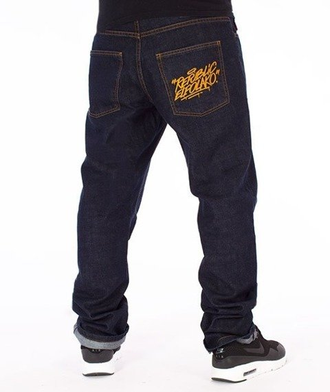 El Polako-Splash Tags Slim Jeans Spodnie Dark Blue