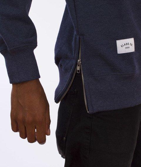 Elade-Zip Minimal Logo Bluza Jeansowy Niebieski