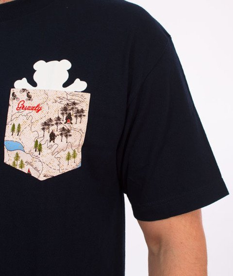 Grizzly-Trail Map Pocket T-Shirt Navy