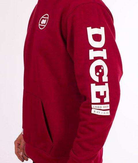 Lucky Dice-Hoodie Logo on Sleeve Bluza Bordo