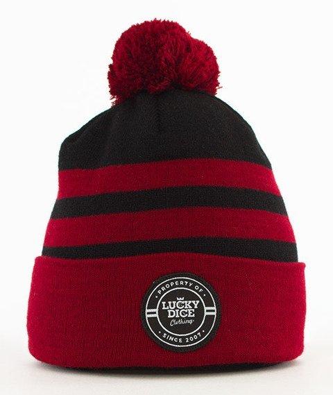 Lucky Dice-Winter Hat 2 Stripes Bordo/Czarny