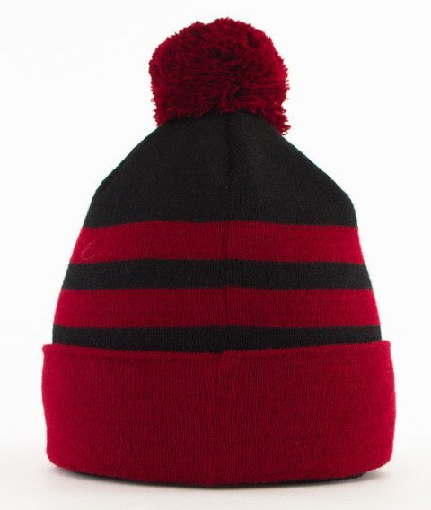 Lucky Dice-Winter Hat 2 Stripes Bordo/Czarny