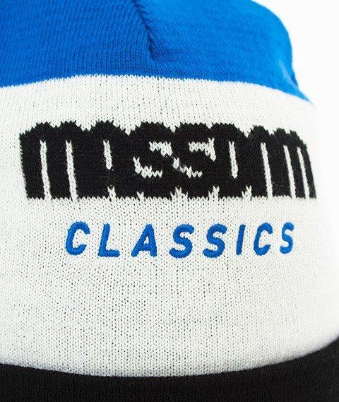 Mass-Classic Cut Beanie Czapka Zimowa Czarna/Biała/Niebieska