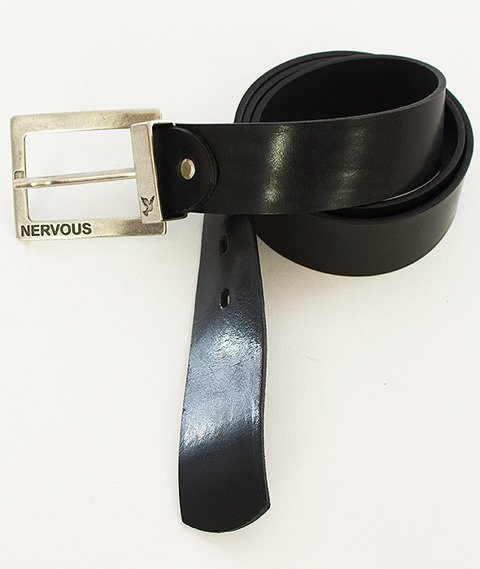 Nervous-Leather Classic Pasek Skórzany Black/Silver