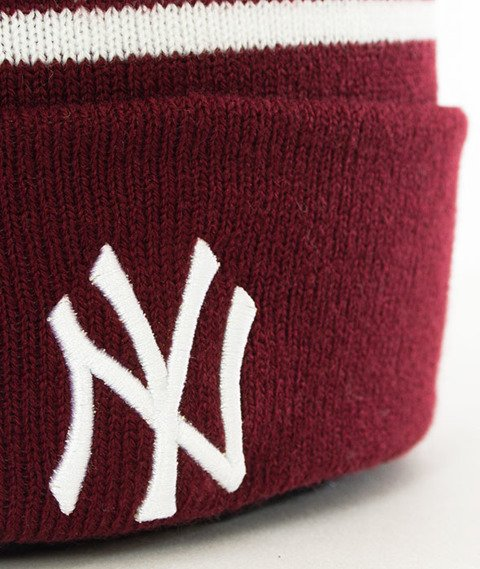 New Era-Spot Stripe New York Yankees Czapka Zimowa Bordowa