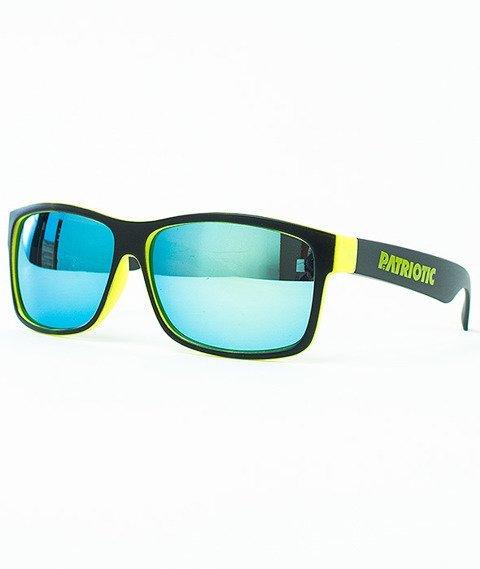 Patriotic-Futura Mat Okulary Czarne/Żółte/Jasnoniebieskie