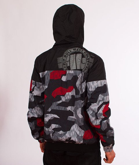 Pit Bull West Coast-Hooded Windbreaker Homelands 2 Kurtka Wiatrówka Black/Red Camo