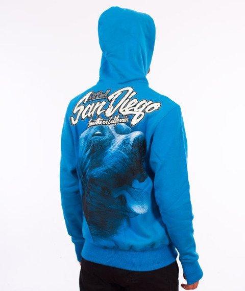 Pit Bull West Coast-San Diego Dog Hoodie Bluza Kaptur Niebieska