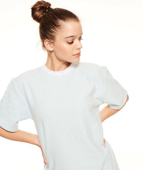 SmokeStory-Boyfriend T-shirt Frotte Damski Błękitny
