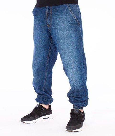 SmokeStory-Classic Jogger Regular Spodnie Wycierane Niebieskie