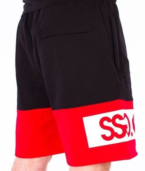 SmokeStory-Double SSG Premium Krótkie Spodnie Dresowe Czarne/Czerwone