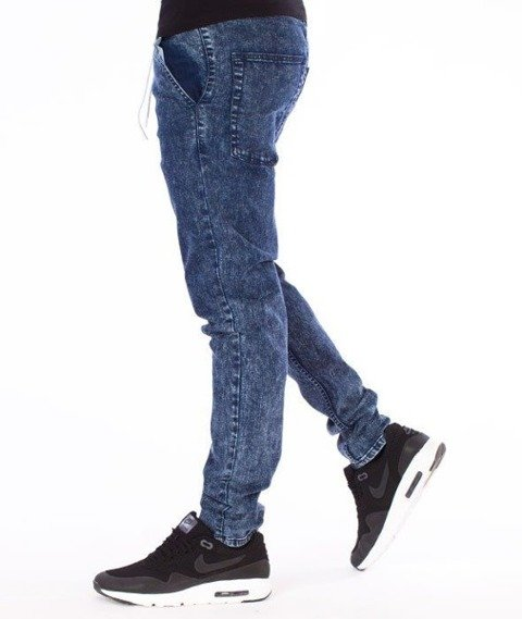SmokeStory-Jeans Stretch Skinny z Gumą Spodnie Marmurki Granat