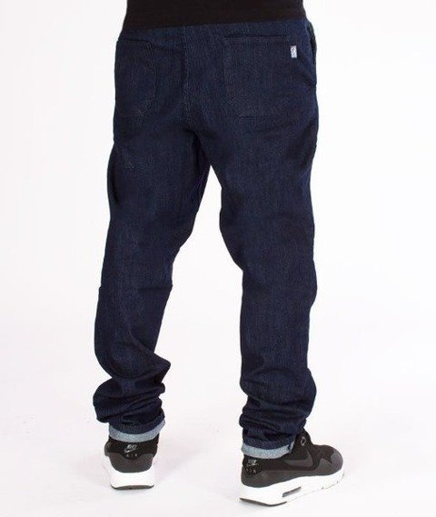 SmokeStory-Jeans Stretch Straight Fit z Gumą Spodnie Dark Blue