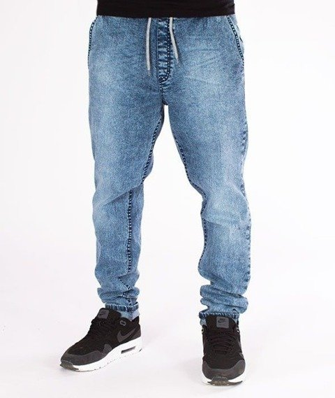 SmokeStory-Jeans Stretch Straight Fit z Gumą Spodnie Marmurki Light