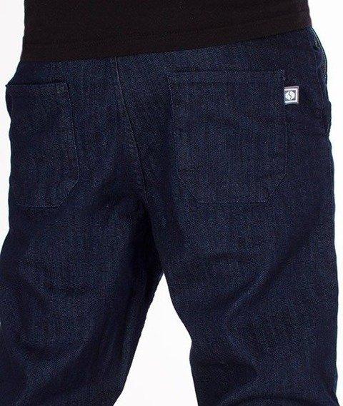 SmokeStory-Jeansy Stretch Straight Fit Guzik Spodnie Dark