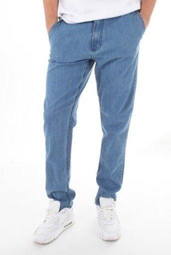 SmokeStory-Jeansy Stretch Straight Fit Guzik Spodnie Light
