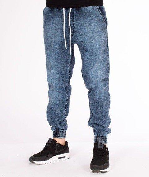 SmokeStory-Jogger Premium Jeans Wycierane Slim Guma Light Marmurki