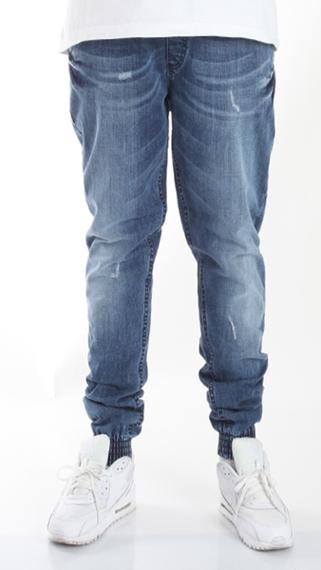 SmokeStory-Jogger Premium Jeans Wycierane Slim Guma z Zagnieceniami