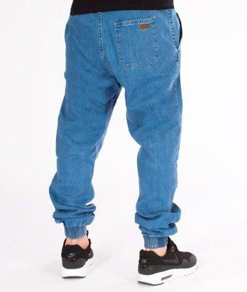 SmokeStory-Jogger Slim Jeans Haft Guma Spodnie Light Blue