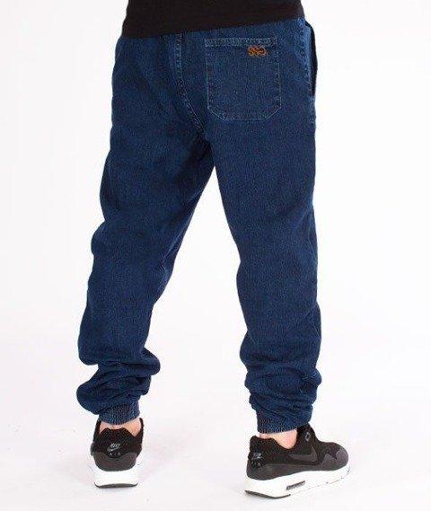 SmokeStory-Jogger Slim Jeans Haft Guma Spodnie Medium Blue