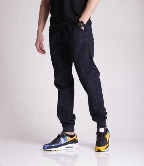 SmokeStory-Jogger Slim Jeans Slim Haft Spodnie Dark Blue