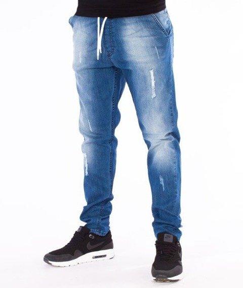 SmokeStory-Premium Jeans Stretch Skinny z Gumą Spodnie Light Przecierane